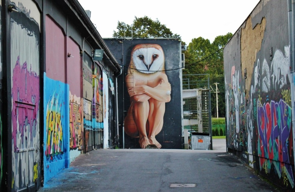 Wall art murals in alley near student center in Zagreb, Croatia