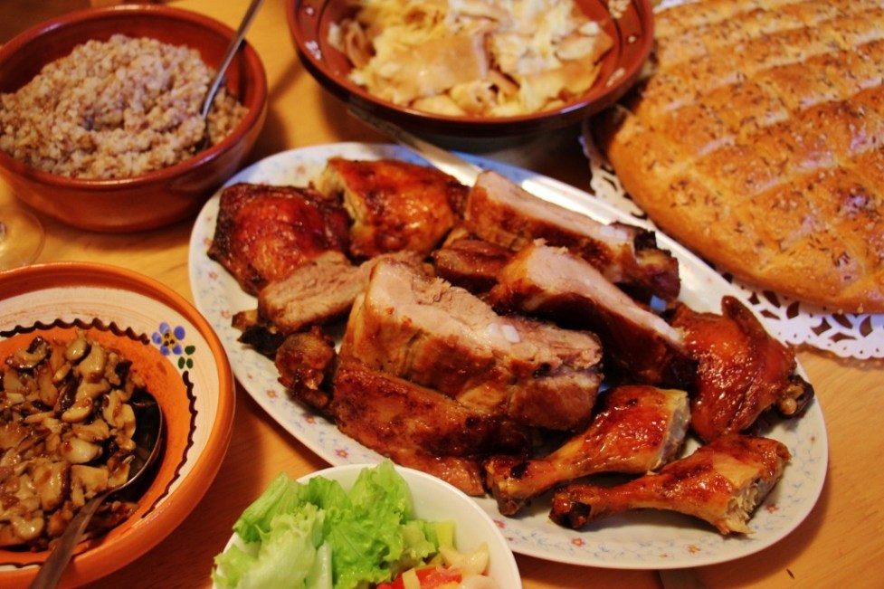 Lunch of Traditional cuisine at Domacija Sraif, Bela Krajina, Slovenia