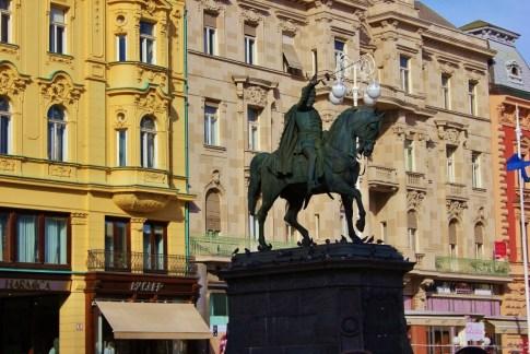 Josip Jelacic Statue on Ban Jelacic Square, Zagreb, Croatia