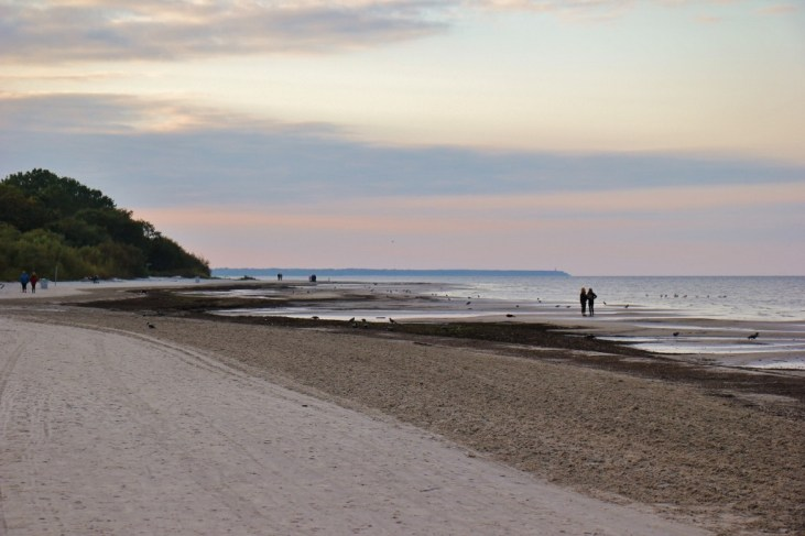 Sunset on beach in Jurmala, Latvia