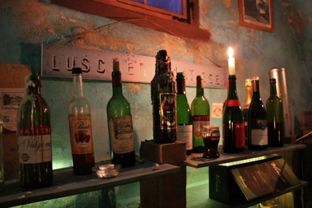Bottle candlestick holders at Museum of Estonian Drink Culture in Tallinn, Estonia
