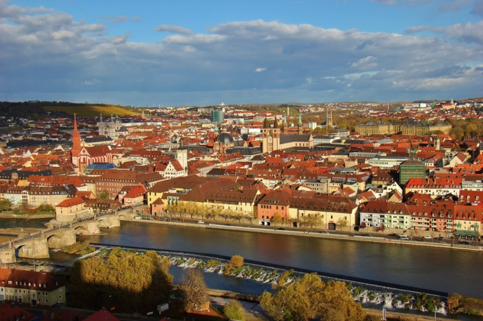 City views from Marienberg Fortress in Wurzburg, Germany