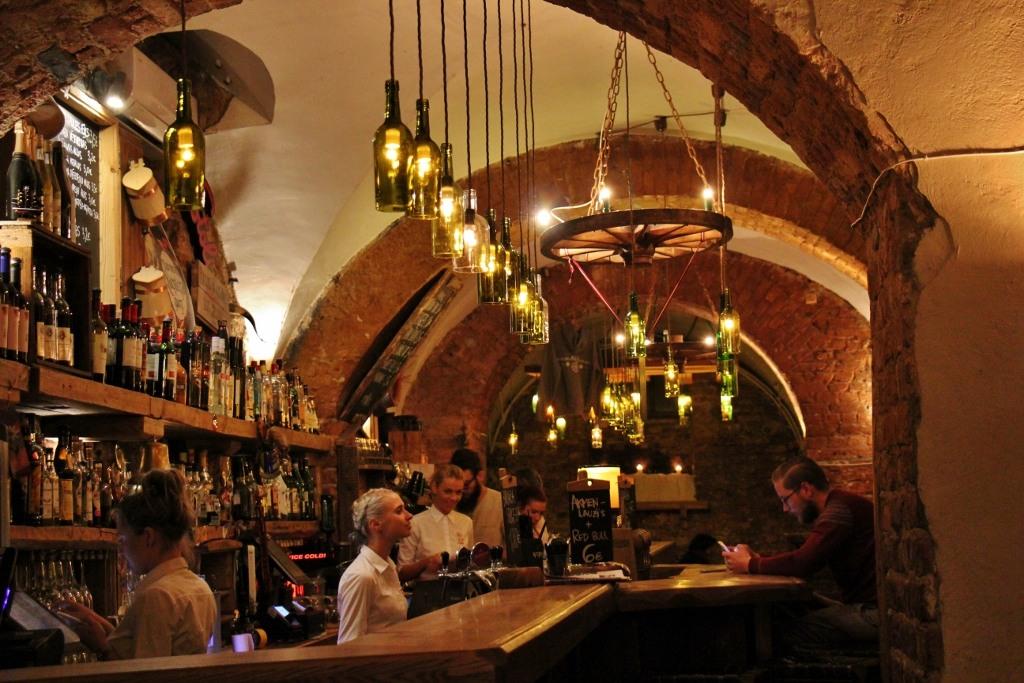 Bar at Folkklubs Ala Pagrabs craft beer bar in Riga, Latvia