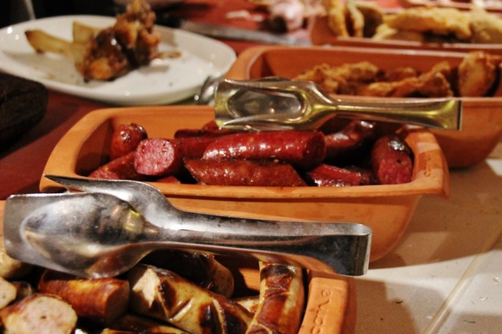 Grilled Sausages on buffet at Taste of Austria dinner on Viking Amsterdam to Budapest Cruise
