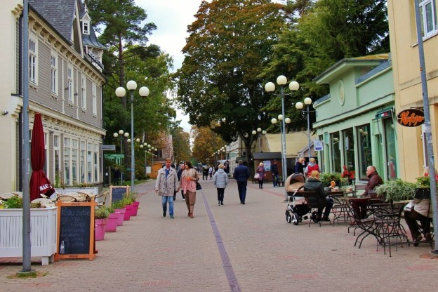 Main pedestrian street, Jomas Iela, in Jurmala, Latvia