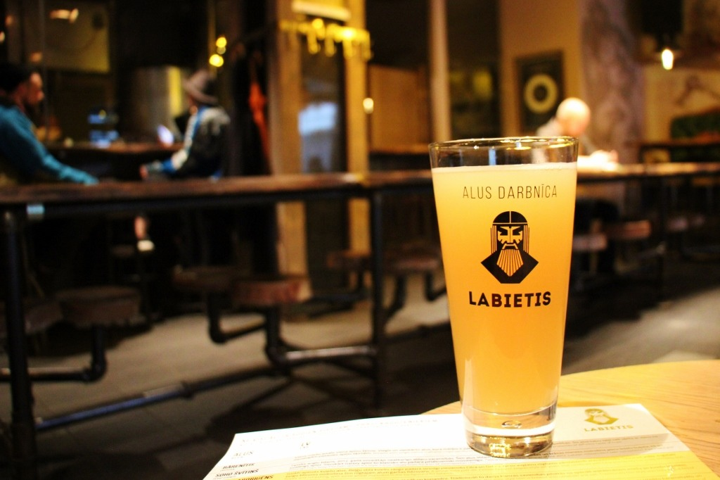 Glass of beer at Labietis brewery in Riga, Latvia