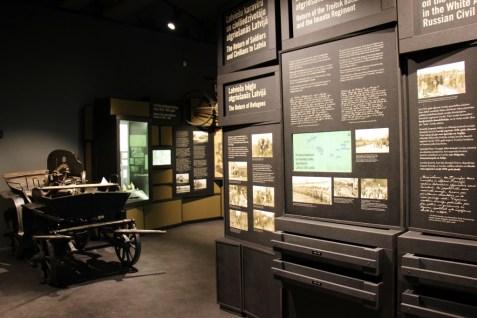 Informative displays at the Latvian War Museum in Riga, Latvia