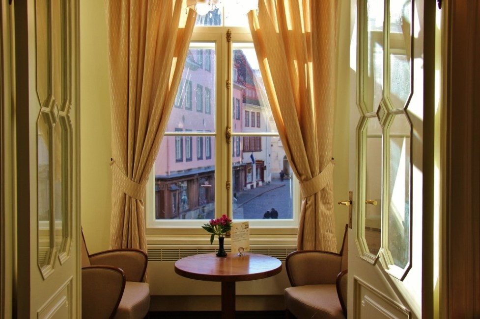 Table for two with a view at Maiasmokk Cafe in Tallinn, Estonia
