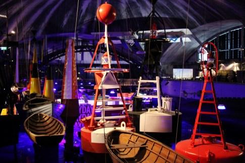 Boat and Buoy maritime displays at Lennusadam Seaplane Harbour Museum in Tallinn, Estonia