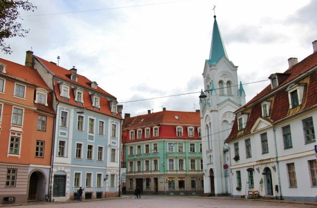 Quiet square near Riga Castle in Old Town Riga, Latvia