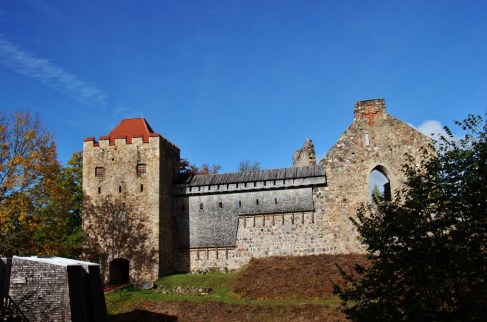 Remains of Sigulda Castle in Sigulda, Latvia