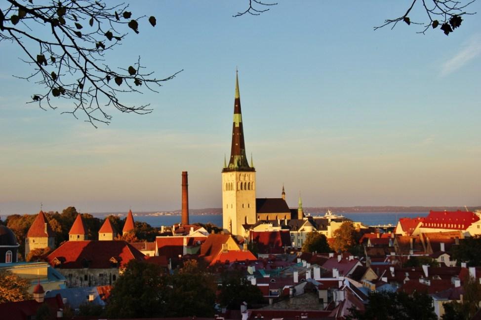 View of St. Olaf's Church from Patkuli viewing platform in Tallinn, Estonia