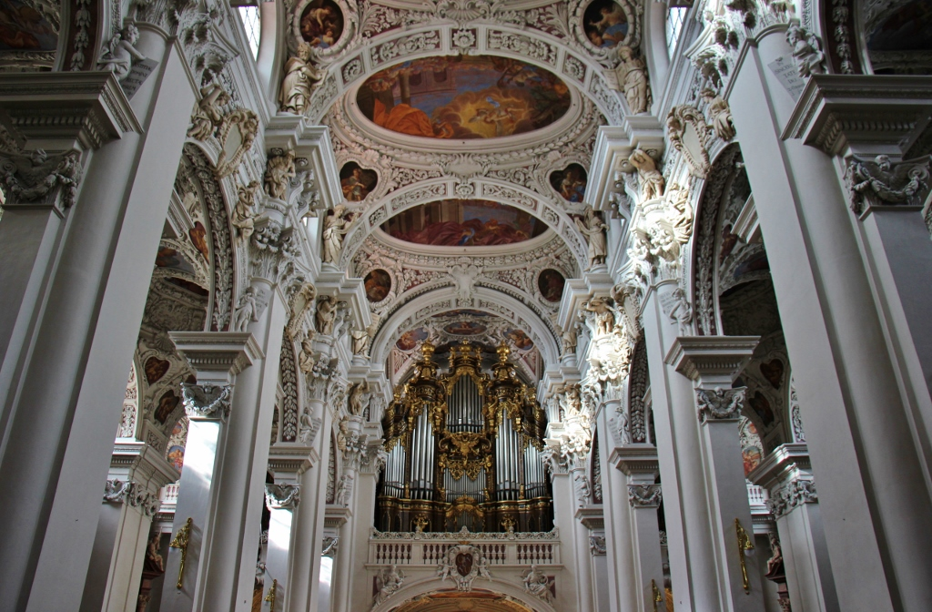 Baroque interior and organ at St. Stephen's Cathedral in Passau, Germany