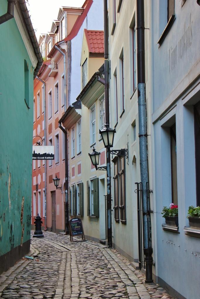 Narrow Torna Iela street in Old Town, Riga, Latvia