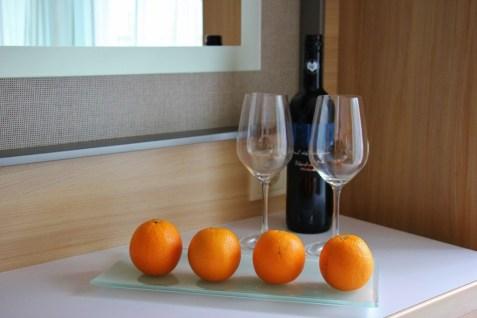 Welcome fruit and wine in Veranda Stateroom, Viking Magni Longship, Amsterdam to Budapest cruise