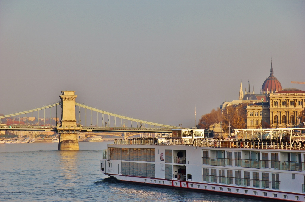 A Viking Cruise longship in Budapest, Hungary
