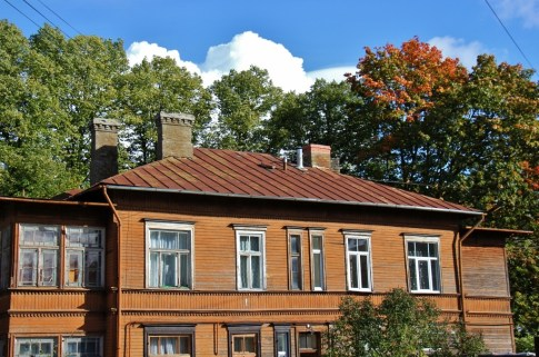 Renovated wooden house in Riga, Latvia