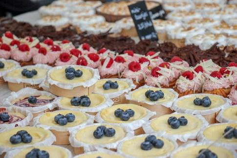Cakes for sale at Haarlem Market on Grote Markt Harlem, Netherlands