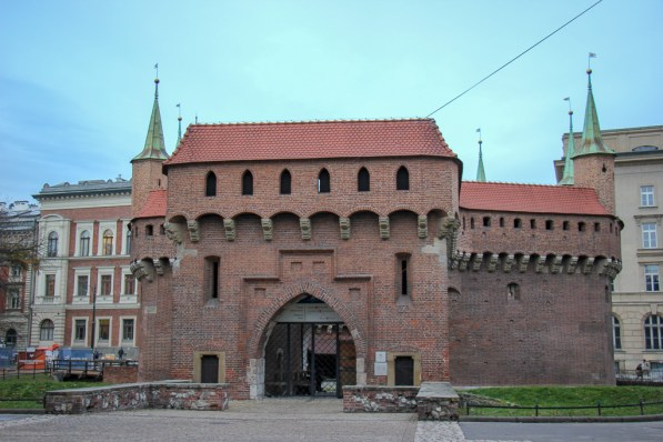 Red-brick Barbican at St. Florian's Gate in Old Town Krakow, Poland