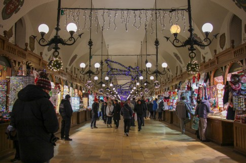 Shops in Cloth Hall on Main Square in Krakow, Poland