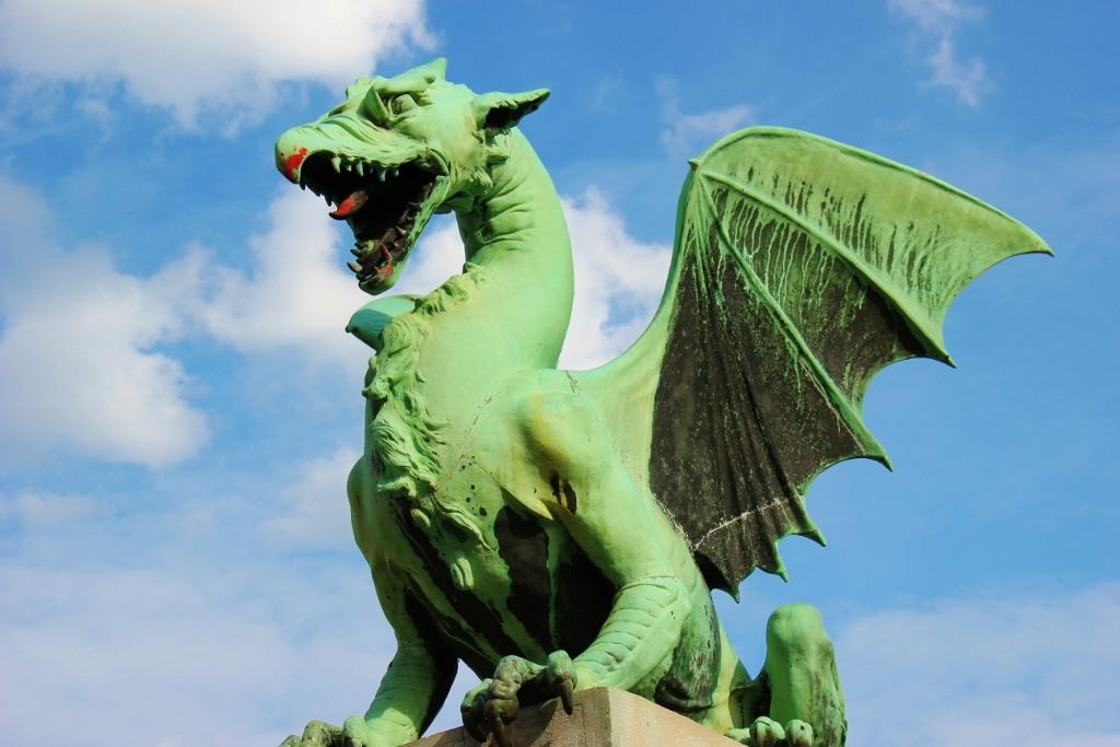 Dragon on Dragon Bridge in Ljubljana, Slovenia