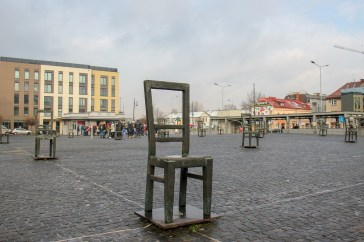 Empty Chair Monument on Ghetto Heroes Square in Podgorze District in Krakow, Poland