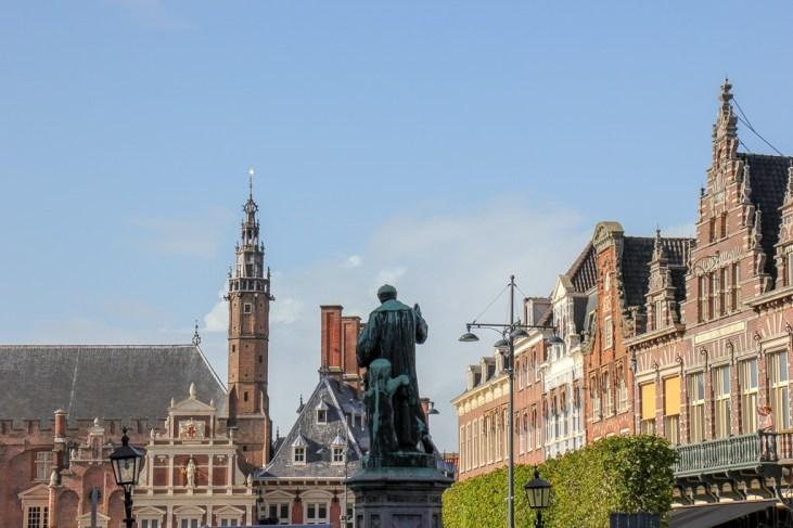 Statue on Grote Markt Haarlem in Haarlem, Netherlands