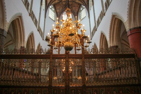 Chandelier and choir at Grote of St. Bavokerk in Haarlem, Netherlands