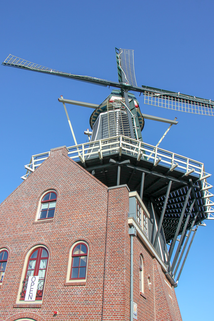 Looking up at Molen de Adriann, the Haarlem windmill in Haarlem, Netherlands