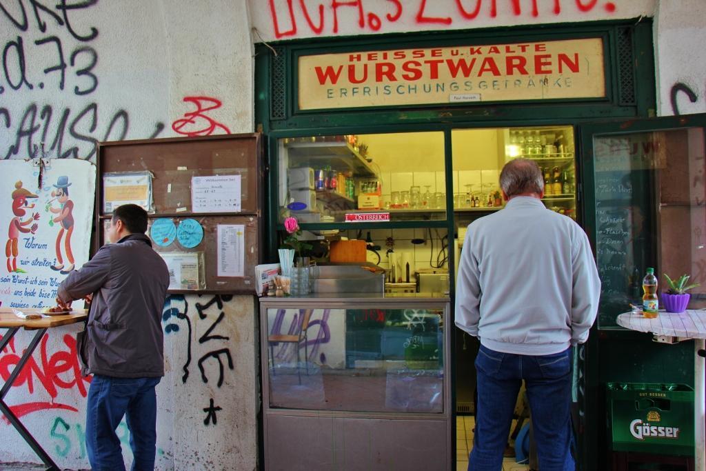 Sausage vendor Heise u Kalte Wurstwaren at Naschmarkt in Vienna, Austria