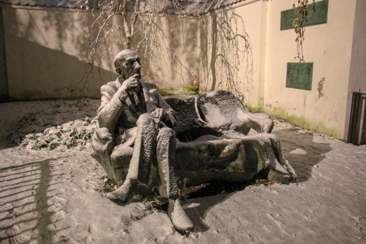 Statue of Jan Karski on Szeroka Street in Kazimierz District in Krakow, Poland