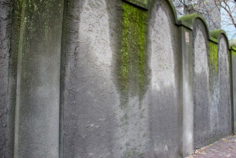 Fragment of the Jewish Ghetto Wall stands in Podgorze District in Krakow, Poland
