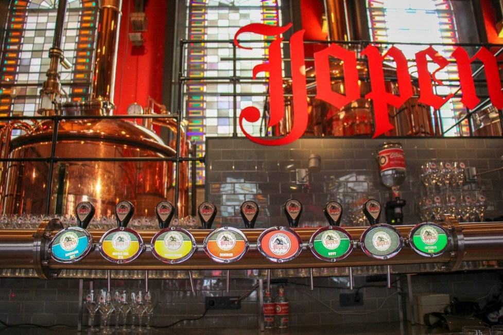 Beers on tap at Jopenkerk Jopen Brewery in Haarlem, Netherlands