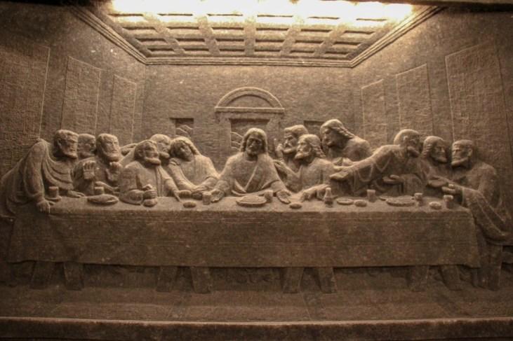 Bas Relief of Last Supper carved in Rock Salt in St. Kinga's Chapel in Wieliczka Salt Mine in Krakow, Poland