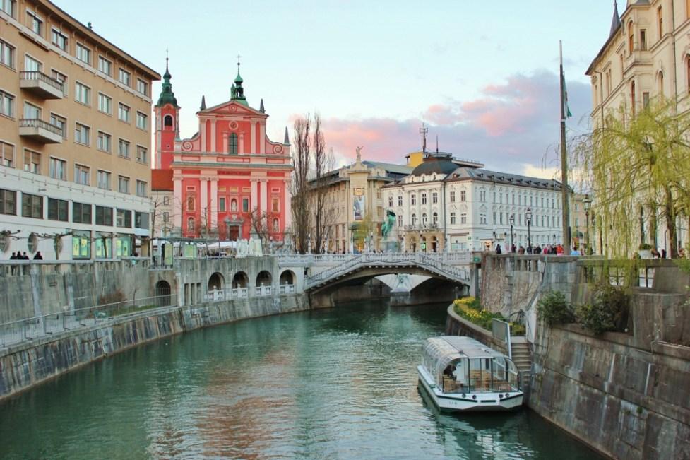 Ljubljanica River in Ljubljana, Slovenia