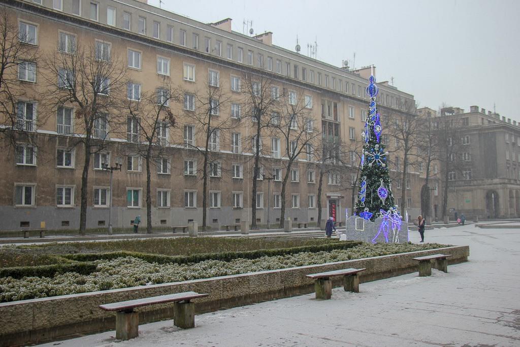 Square in Nowa Huta District in Krakow, Poland