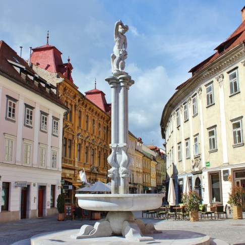 Fountain in Old Square in Ljubljana, Slovenia