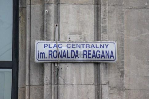 Ronald Reagan Central Square sign in Nowa Huta in Krakow, Poland