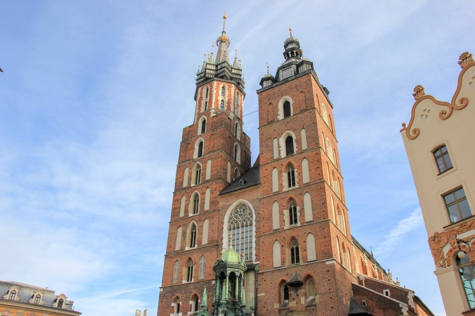 Towers of St. Mary's Basilica on Main Square in Krakow, Poland