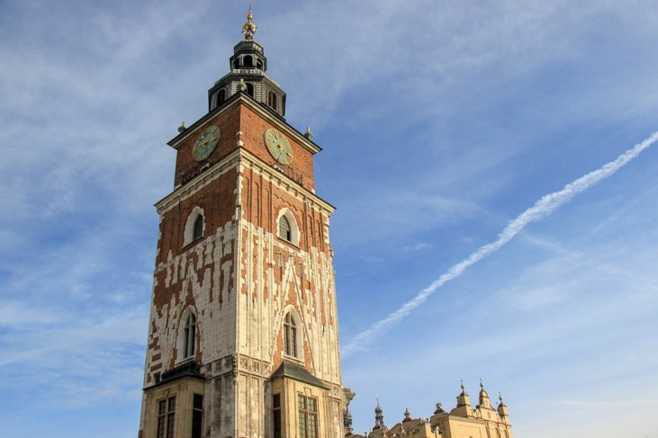 Leaning Town Hall Tower on Main Square in Krakow, Poland