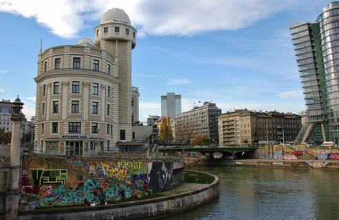 Urania Planetarium and riverwalk in Vienna, Austria