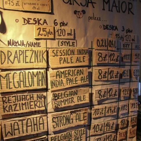 Beer list at Ursa Maior craft beer bar in Kazimierz District in Krakow, Poland