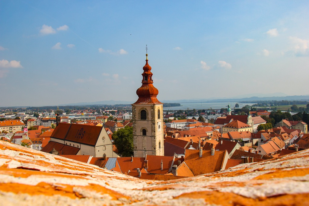 Bell Tower view from Ptuj Castle in Ptuj, Slovenia