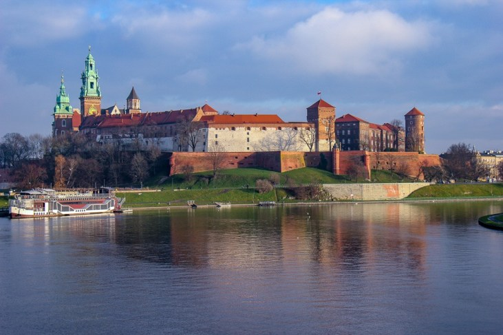 View of Wawel Castle from Debnick Bridge in Krakow, Poland