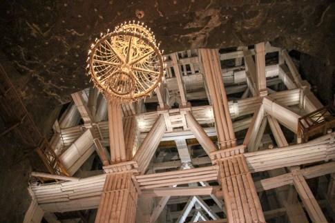 Wooden support beams inside Wieliczka Salt Mine in Krakow, Poland