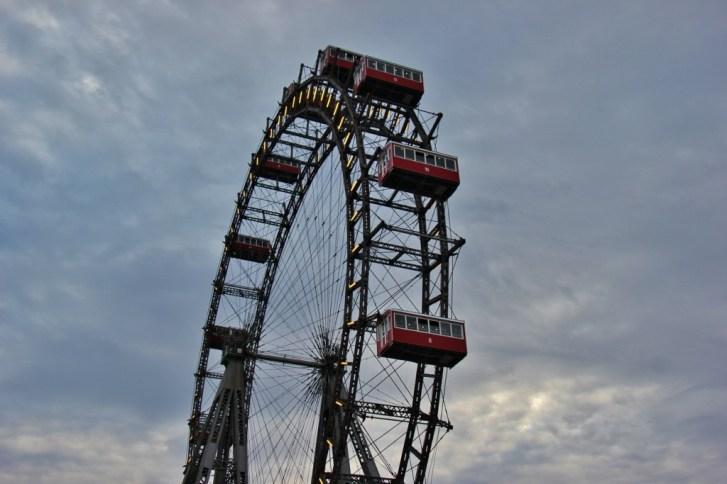Historic Wiener Riesenrad Ferris Wheel at Wurstelprater Amusement Park in Vienna, Austria