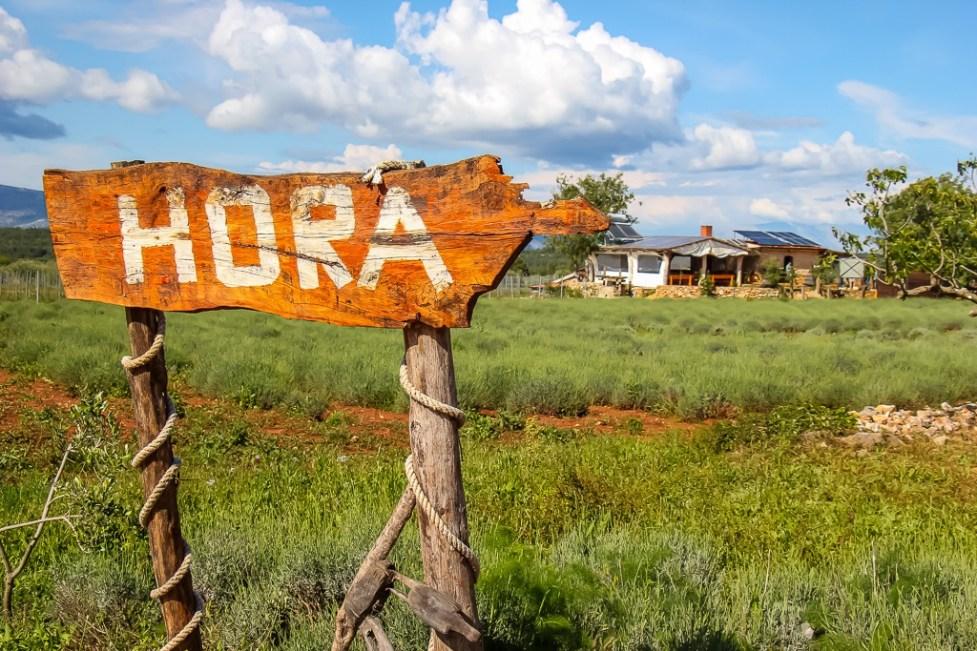 Hora winery sign in Stari Grad Plain, Croatia