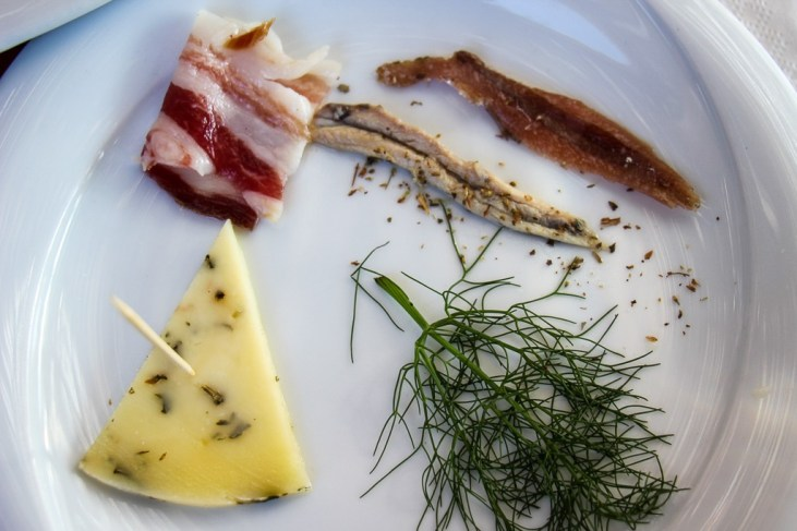 Small plate of local Dalmatian fare at Hora Winery in Stari Grad, Croatia