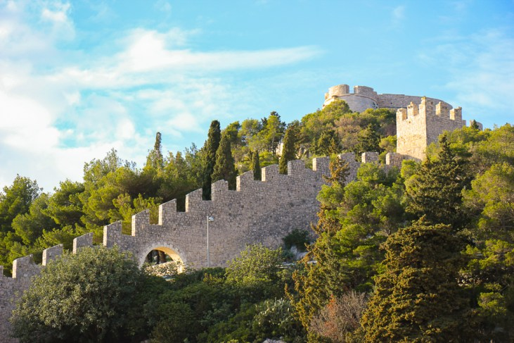 Defensive wall and Fortica Spanjola (Hvar Fortress) in Hvar Town, Croatia