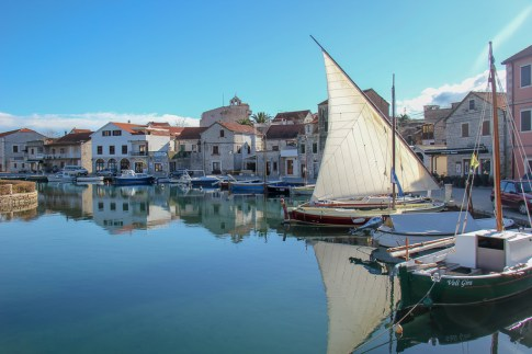 Sailboat in Vrboska Marina on Hvar Island, Croatia